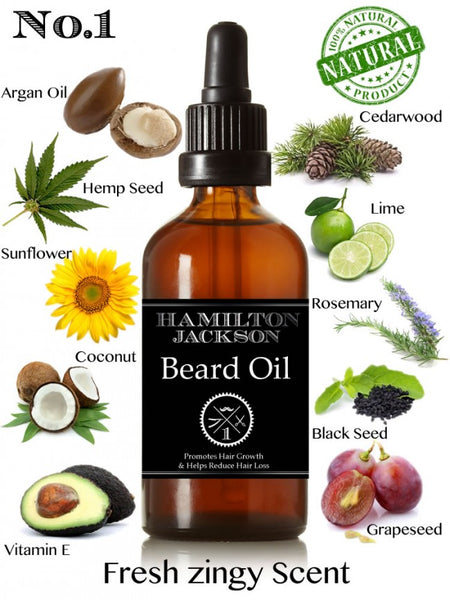No1 Beard Oil - Fresh Citrus - Lime and Cedarwood 100% Natural
