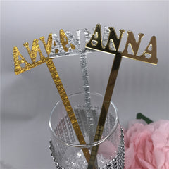 12pcs / lot Custom Name Place Cards Akryl Drikke Stirrers Personlig Bryllup / Fødselsdag Bar Cocktail Stir Stirrers