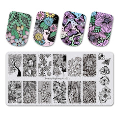 1 stk BeautyBigBang Butterfly Flower Nail Plates Stamp Stencil For Stamping 3D Mold Geometry Printing