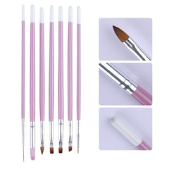 7pcs Nail Pensler Set Pink Håndtak UV Gel Gradient Liner Pensel Akryl Maleri Pen Cuticle Pusher Manicure Nail Art Tools Kit