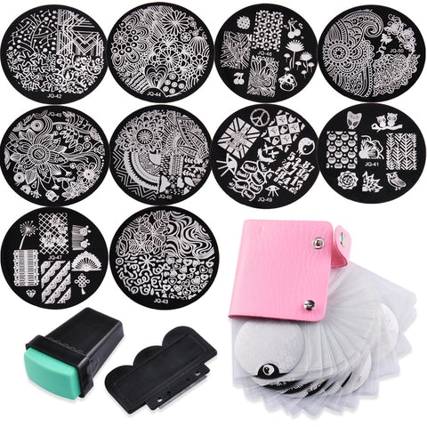 10 Nail Plates 1 Stamper 1 Skraper Oppbevaringspose Nail Art Image Stempelplater Manicure Template Nail Art Tools Biutee