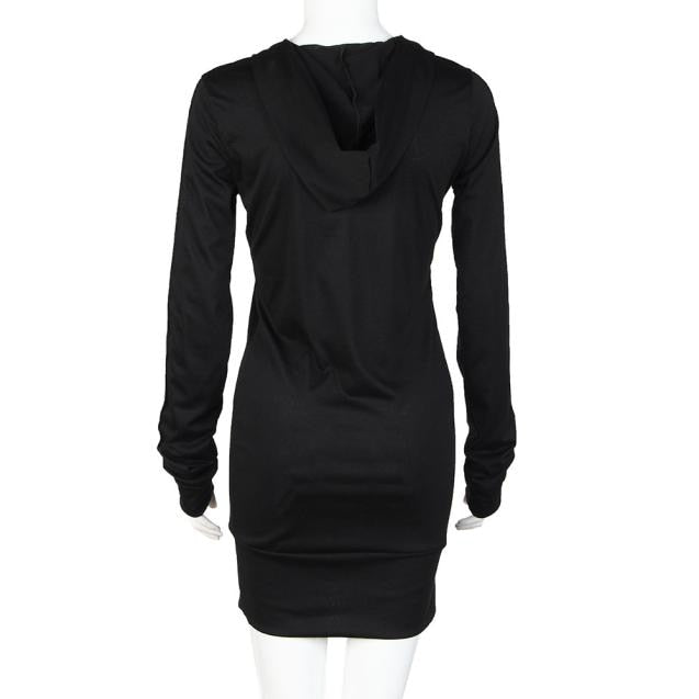 49a39440 ... Kvinner Lang Hettegenser Kjole Høst Langermet Pure Color Hettegensere  Slim Fit Mini Dress Vetement Femme ...