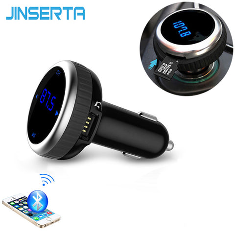 JINSERTA Bil MP3 Audio Player Bluetooth FM Transmitter Trådløs FM Modulator Handsfree Bilmontering LCD USB TF Reader