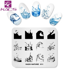 KADS Nature 011 Overtrykk Nail Stamping Plate Vannbølger Sea Designs Layered Stamp Template Nail Art Manicure Plate Nail Tools