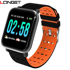 Longet A6 Smart Watchchip Blood Pressure Measure Sport Vanntett Watch Fitness Tracker Smartwatch for Android IOS