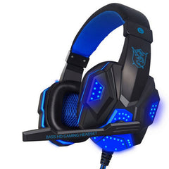 Stereo Gaming Headset PC Hodetelefoner Computer med Over-Ear Støyreduserende Video Gamer Hodetelefoner LED lyser med mic Casque