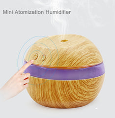 USB Air Ultrasonic Air Humidifier 300ml Aroma Wooden Diffuser Essential Oil Diffuser Aromaterapi tåke maker med Blue LED Light