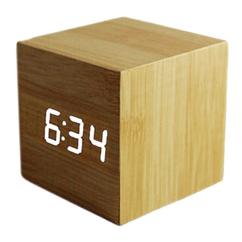 Wood Cube LED Alarm Control Digital Desk Clock Wooden Style Rom Temperatur Bambus tre ledet