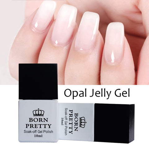 1 flaska 10 ml BORN PRETTY Opal Vit Jelly Gel suga bort UV Gel Manikyr Nail Art Polish Varnish Born Pretty