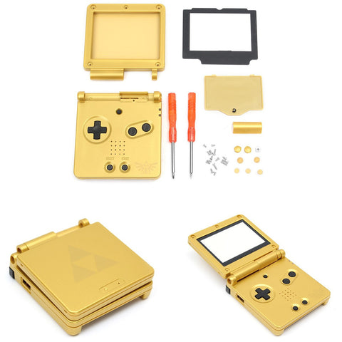 1 Set Replacement Golden Full Housing Shell Fodral + Skärmskydd + Verktyg för Nintendo För Gameboy Advance SP För GBA SP MyXL