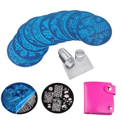 10 st Nail Stamping Plates Polska Stencils För Nails 1 Pc Rose Red Mall Case Clear Scraper Stamper Nail Art Set Kits Biutee