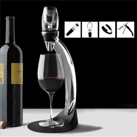 1 set Bar Tool Magic Wine Fast Decanter Dispenser Rödvin Aerator med bas och filter Vin Tillbehör Waasoscon