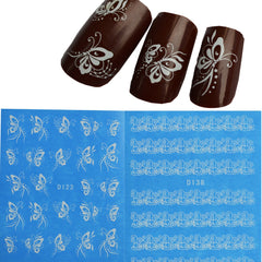1 blad Skönhet Vit Snörning Nail Art Stickers Dekaler Nail Beauty Designs Water Transfer Decorations Manicure Verktyg ND100 / STZ