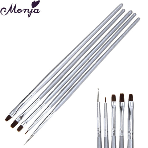 5 st / set Nail Art Dot Flat Liner Brush Acrylic Gel Polish Extension Bead Paljett Jacket Kilar 3D-vy DIY Pigment Rita Pen Monja