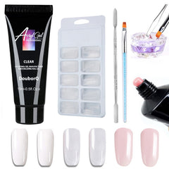 5st Polygel Nagelsett UV LED Builder Nagel Gel Fake Tips Dubbelhäftande Pen Akryl Nagelkristall Poly Gel Kits