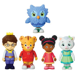 5pcs / set Daniel Tiger's Neighborhood Trolley and Figures Set Daniel Tiger Prince Elaina Owl Katerina Modell Dolls brinqudoes bebe