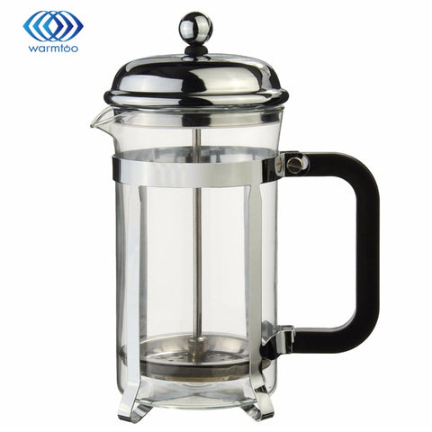 600 ml Sliver French Press Coffee Cup Kaffebryggare ram värmebeständigt glas Tea Pot Steel Sustainable Quality warmtoo