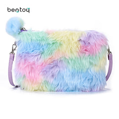 Bentoy Plush Women Shoulder Bag Söt Läder Messenger Crossbody Väska Girls Candy Cartoon Handväska Zipper Phone Organizer Wallet
