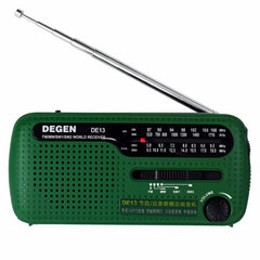 DEGEN DE13 FM AM SW Crank Dynamo Solar Power Nödradio A0798A World Receiver