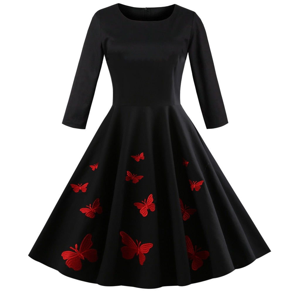 f46cfd8116d8 ... WipaloAutumn Women Vintage Dress Butterfly Print Halloween Broderi Retro  Klänning O-Neck Long Sleeve A ...