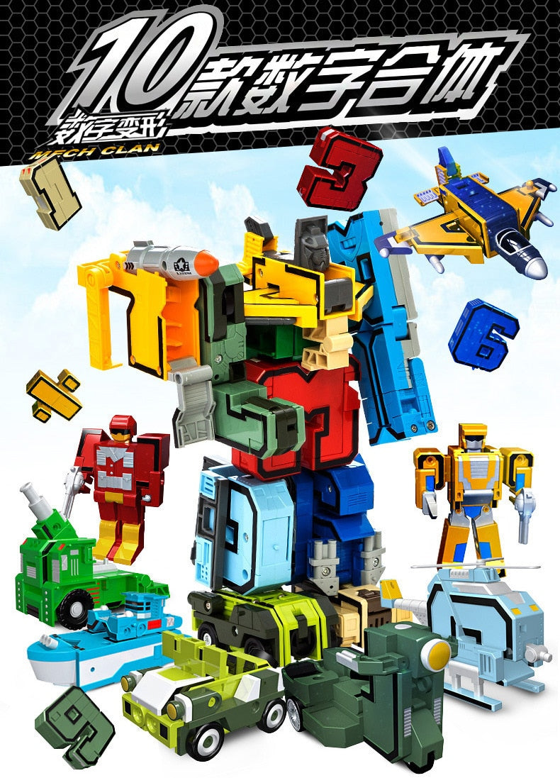 Educational Digital Magic Number Transform Robot Toys Assembling Action Figure