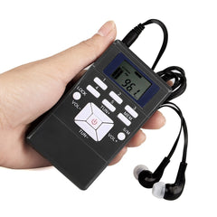 "Mini Portable DSP Stereo FM Radio Digital Klockmottagare Clip-on Radio med hörlurar Lanyard 1.2 ""skärm"