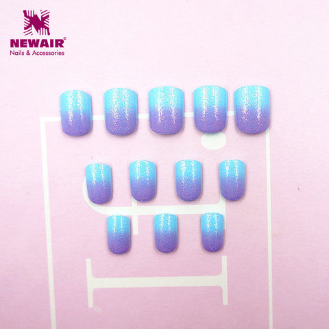 Kids False with Design Nail Tips 24st Blue Lila Short Full Cover Barn Fake Nails