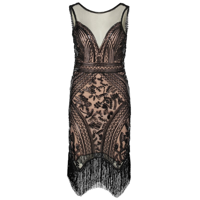 267a27199f2d Women Flapper Dress Vintage V-Neck Sleeveless Sequin Fringe 1920s Great  Gatsby Charleston Dress Art