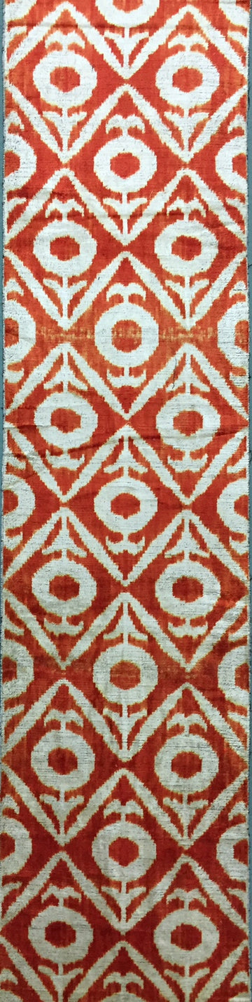 PUEBLO ORANGE - IKAT SILK/VELVET FABRIC