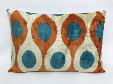 Load image into Gallery viewer, ASTRAL BLUE TEARS - IKAT SILK/VELVET PILLOW