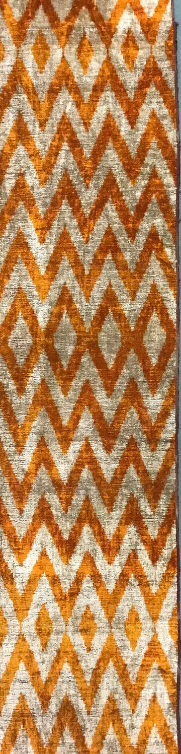 CARROT ORANGE  - IKAT SILK/VELVET FABRIC