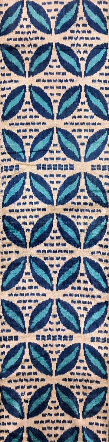 LUCKY POINT BLUE - IKAT SILK/VELVET FABRIC