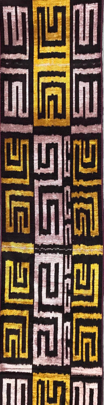 OLD GOLD MAZE - IKAT SILK/VELVET FABRIC