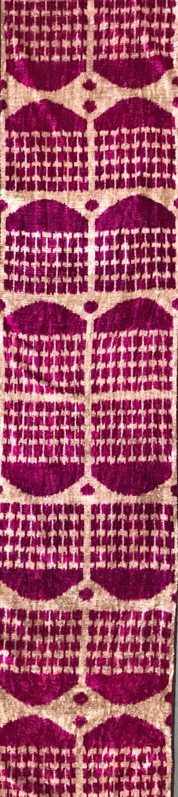 PLUM TEMPLE - IKAT SILK/VELVET FABRIC