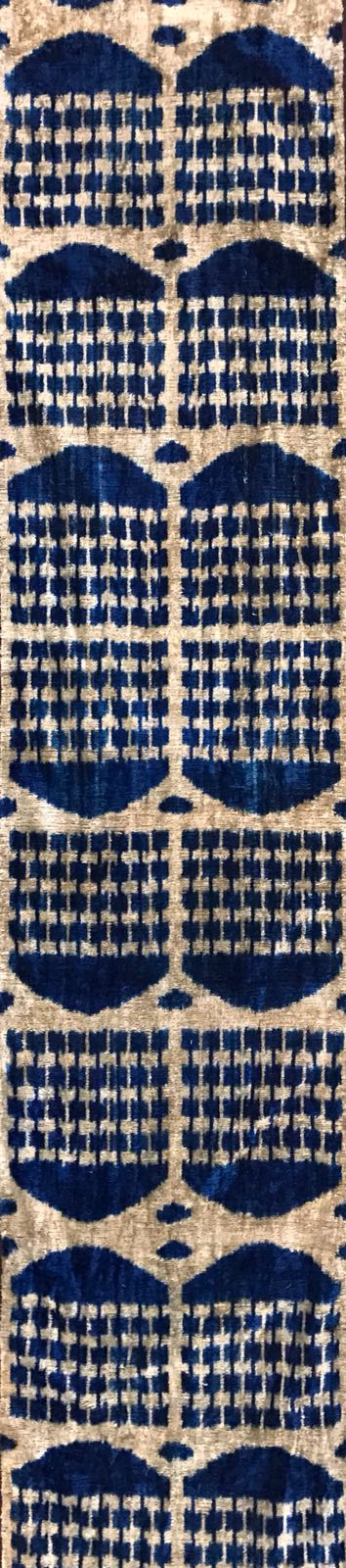 FUN BLUE- IKAT SILK/VELVET  FABRIC
