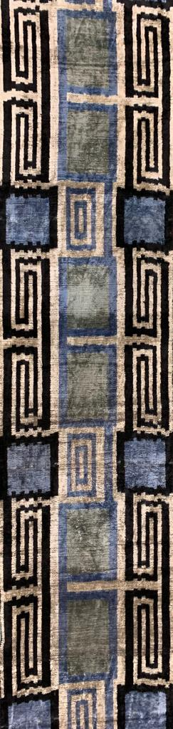MARTINIQUE BLACK- IKAT SILK/VELVET FABRIC