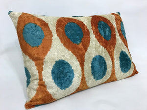 ASTRAL BLUE TEARS - IKAT SILK/VELVET PILLOW