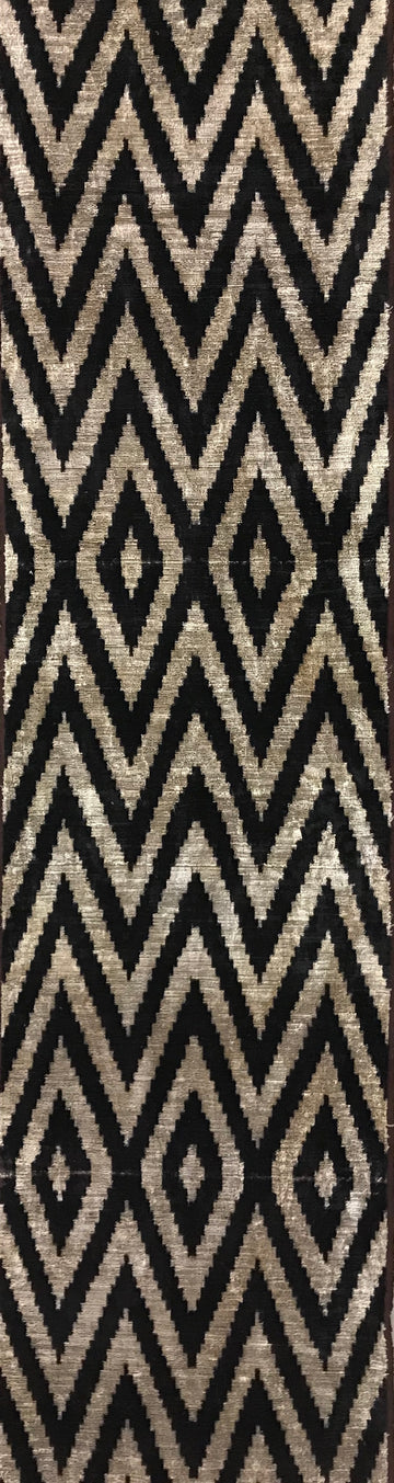 BLACK ZIG ZAG- IKAT SILK/VELVET FABRIC