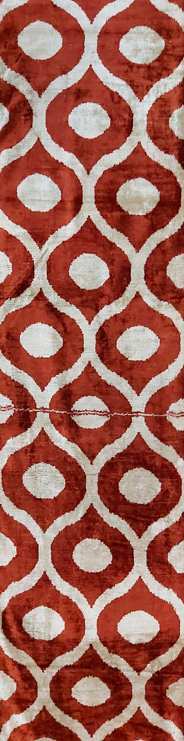 BURNT UMBER CLASSIC - IKAT SILK/VELVET  FABRIC