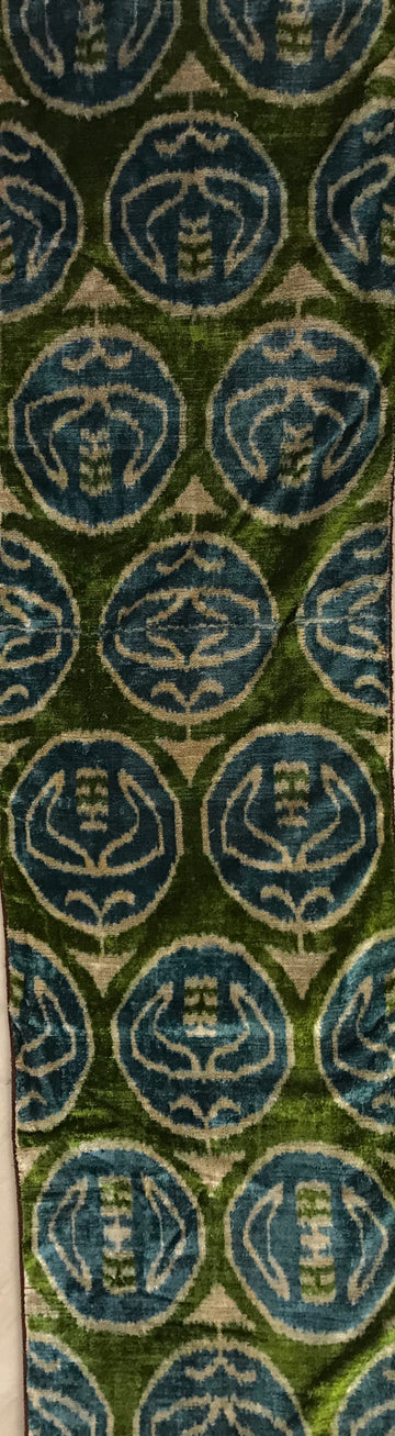 HIPPIE GREEN - IKAT SILK/VELVET  FABRIC