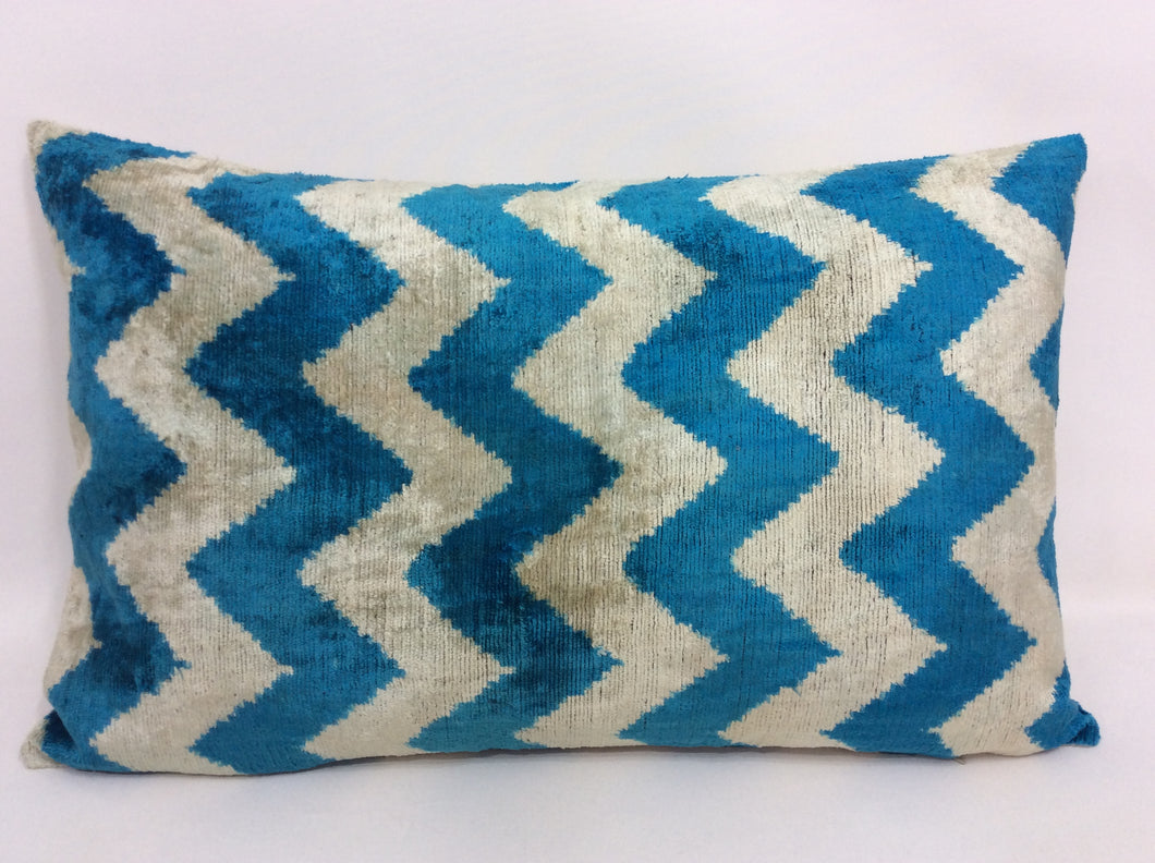 TORY BLUE ZIGZAG - IKAT SILK/VELVET PILLOW