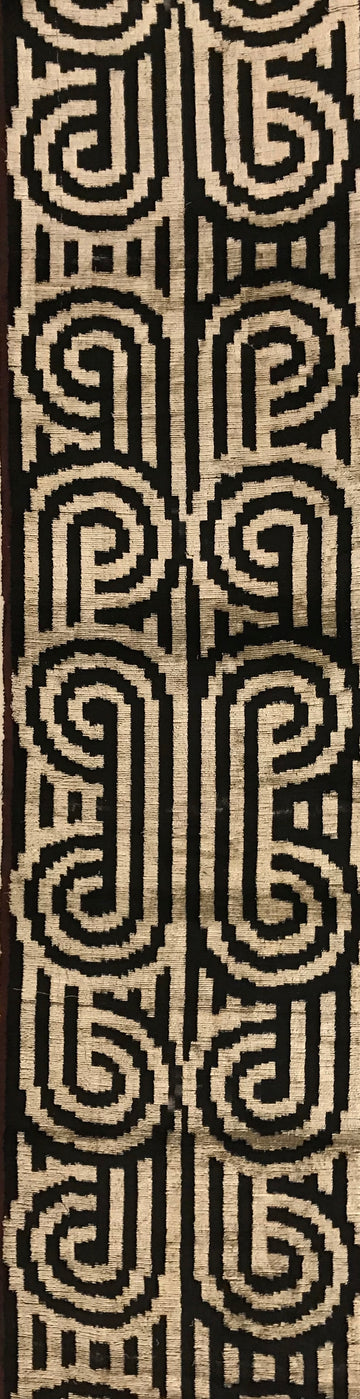 WOODSMOKE BLACK - IKAT SILK/VELVET FABRIC