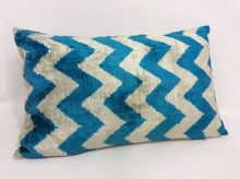 Load image into Gallery viewer, TORY BLUE ZIGZAG - IKAT SILK/VELVET PILLOW