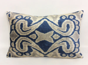 CELLO BLUE  - IKAT SILK/VELVET PILLOW