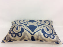 Load image into Gallery viewer, CELLO BLUE  - IKAT SILK/VELVET PILLOW