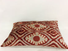 Load image into Gallery viewer, COCOA BEANS LEAF - IKAT SILK/VELVET PILLOW