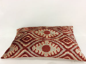 COCOA BEANS LEAF - IKAT SILK/VELVET PILLOW