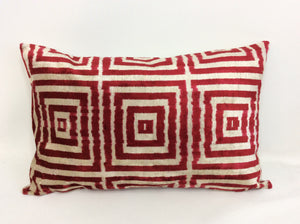 MEXICAN RED SQUARES  - IKAT SILK/VELVET PILLOW