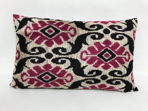 HIPPIE PINK TRIBAL - IKAT SILK/VELVET PILLOW