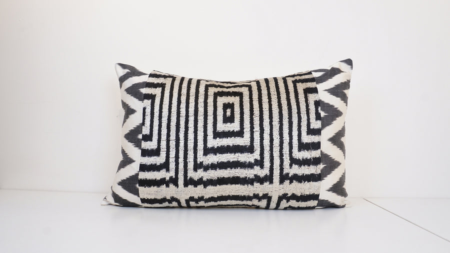 Ikat Velvet  Patchwork Pillow Cover